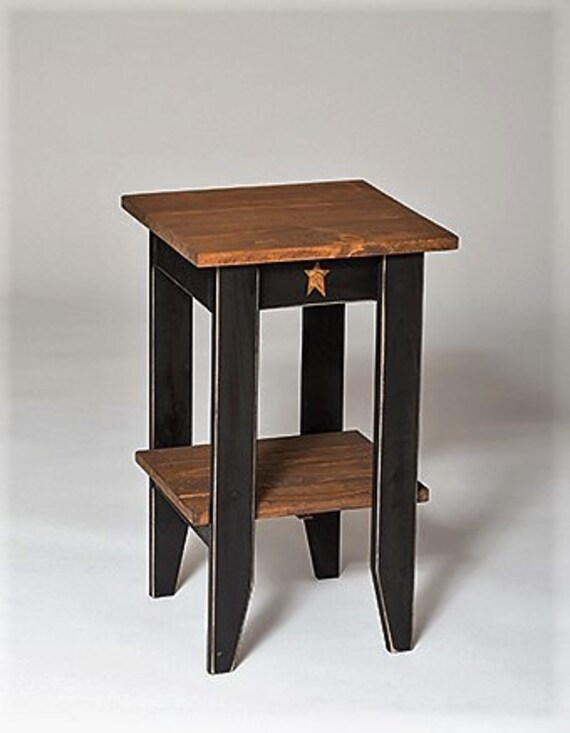 Primitive Rustic Square End Table Modern Walnut Stain Amish Handcrafted Made In Usa