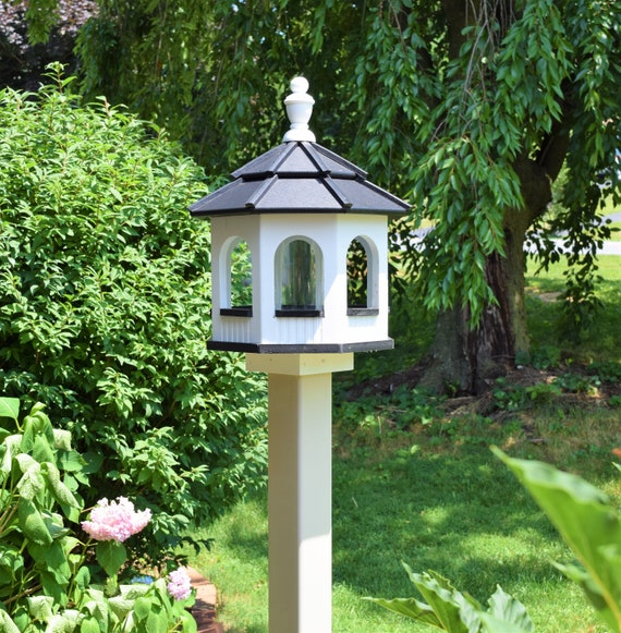Small Poly Gazebo Bird Feeder Amish Homemade Handcrafted White Etsy