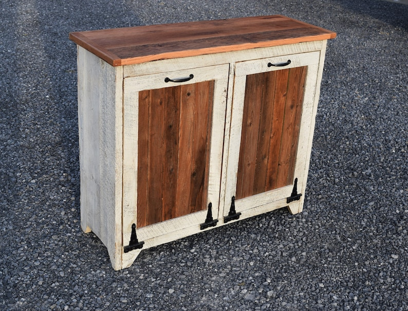 Distressed Double Trash bin Reclaimed wood Double tilt out trash bin two 12.5 gallon Plastic trash can not  Included