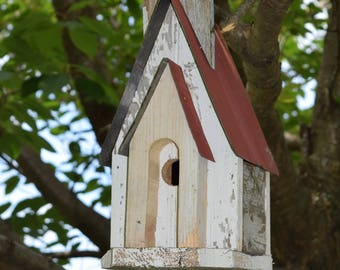 Rustic Church Birdhouse Handmade Amish Reclaimed Materials
