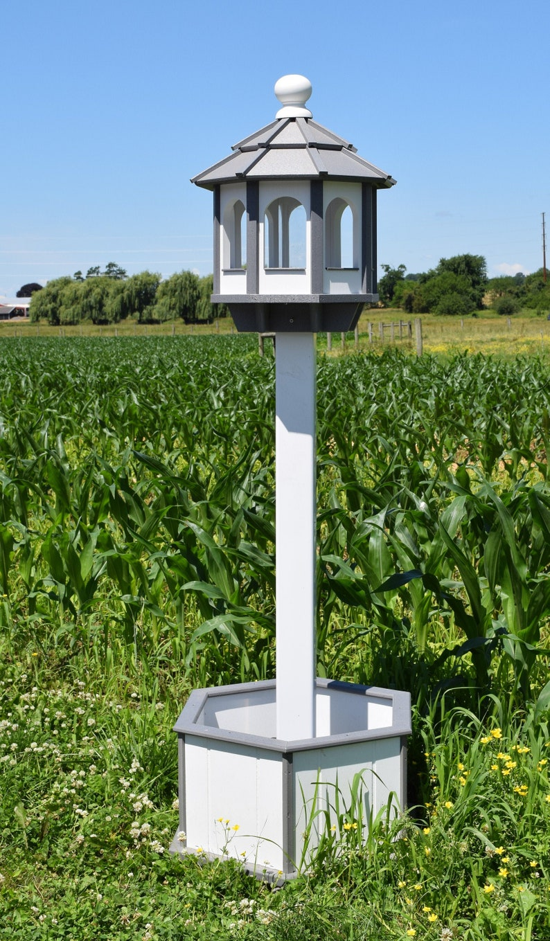 Large Bird Feeder Poly Handcrafted White And Gray Octagon Gazebo Bird Feeder Post And Planter Not Included