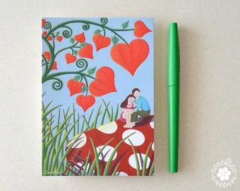 """Carte postale illustration """"les Amoureux au champignon """""""