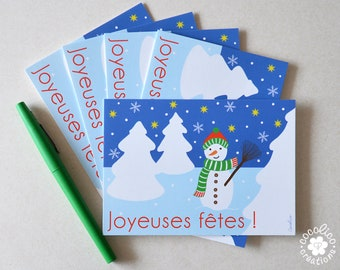 "Set of 5 postcards ""Snowman"" illustration"