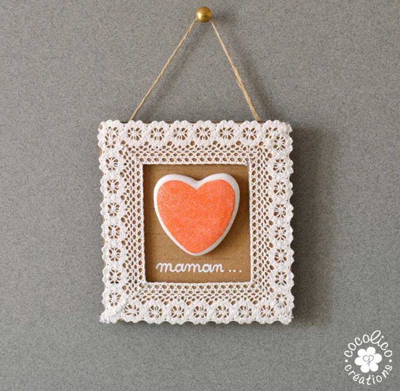 Frame cardboard and lace Pebble heart orange glittery image 0