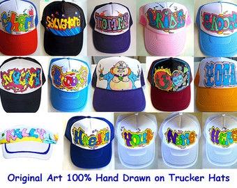 97bb93d618323 Custom Personalized Custom Hats Caps Artwork Airbrushed Trucker Caps  Snapback NYC Graffiti Style Design Airbrushed Caps