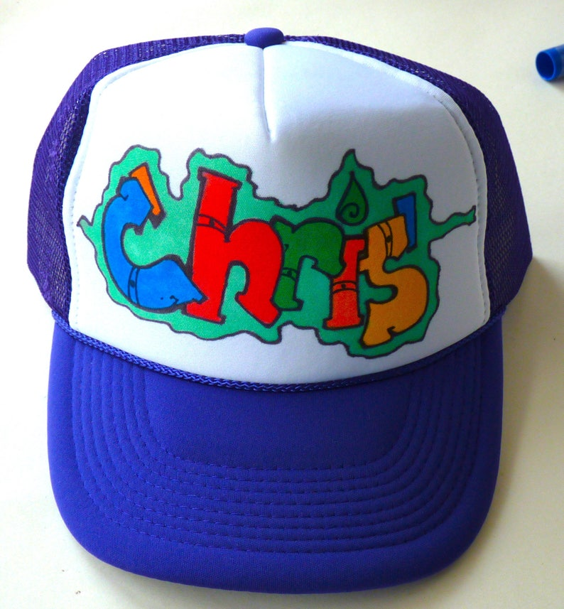 e348c8a3a Chris Name Gifts Trucker Hats Caps Personalized Customized Hand Drawn  Painted NYC Graffiti Airbrush Mens Boys Children Kids