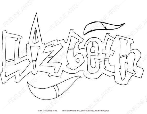 Lizbeth Coloring Book Pages Girls Baby Womens Names Etsy
