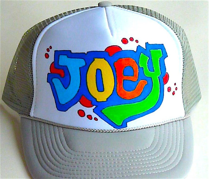 5e0d5cdcc Joey Name Gifts Trucker Hats Caps Personalized Customized Hand Drawn  Painted NYC Graffiti Airbrush Mens Boys Children Kids