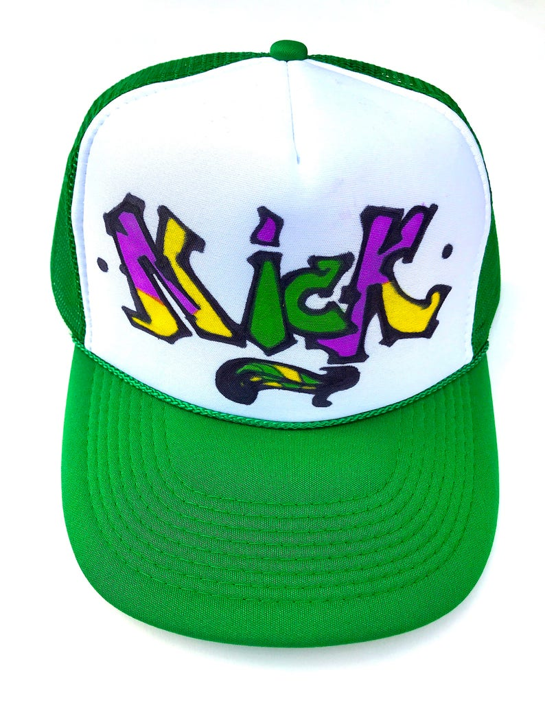 4c1539efa Nick Name Gifts Trucker Hats Caps Personalized Customized Hand Drawn  Painted NYC Graffiti Airbrush Mens Boys Children Kids