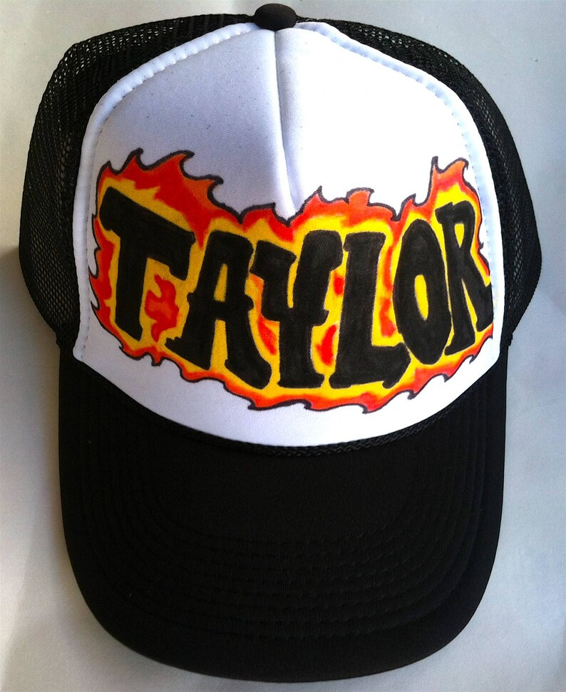 afe6c5f91 Taylor Name Gifts Trucker Hats Caps Personalized Customized Hand Drawn  Painted NYC Graffiti Airbrush Mens Boys Children Kids