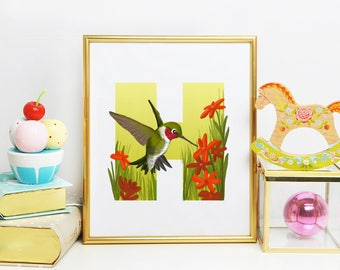 H is for Hummingbird, Hummingbird illustration, Hummingbird, Digital Download Art, Instant Download, Nursery art, Children's room art