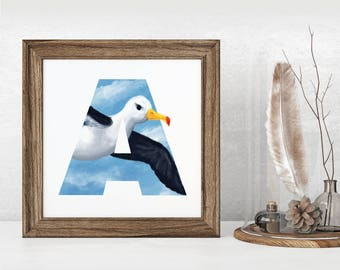 A is for Albatross, Albatross, Wall art, Instant download, Bird Alphabet, Bird Letter