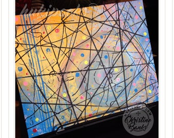 String Theory   Original Acrylic Brushless Painting by Christine Banks - 11x14 Canvas Panel Unframed