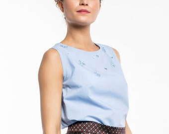 Pure blue cotton top with applied drop crystals, size S/M - women's top with applications