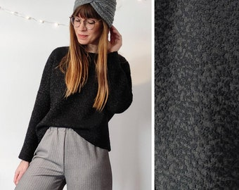 Black knit in wool blend fabric with patterned embossed workmanship, ONE SIZE - oversized, comfortable, winter women's knit - to order
