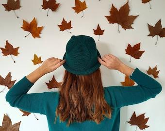 Cloche/bombette hat made with BOSCO GREEN crochet - bucket hat - women's cap 3 in 1