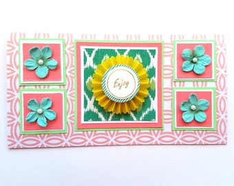Coral and Teal Enjoy Card