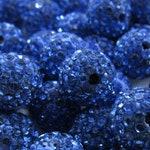 5 or 10 PC Periwinkle Blue 10 MM Shamballa Beads, Disco Ball Beads, Round Beads, Micro Pave Crystal, Rhinestone Clay Shamballa Beads, Bulk