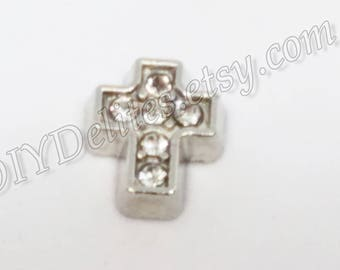 Cross Floating Charm Locket with and without Rhinestones
