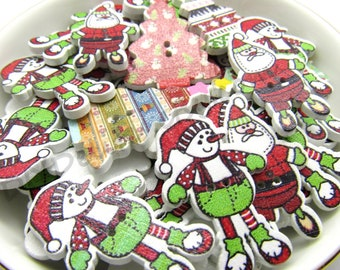christmas wood buttons 2 hole holiday buttons christmas buttons christmas buttons sewing crafts button crafts scrap booking - Christmas Buttons