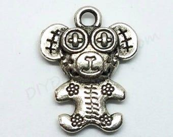 Ragged Teddy Bear Charms, Teddy Bear Charms, Antique Silver Tone, Earring Charms, Bangle Bracelet Charm, Pendant, DIY Jewelry Findings, Bulk