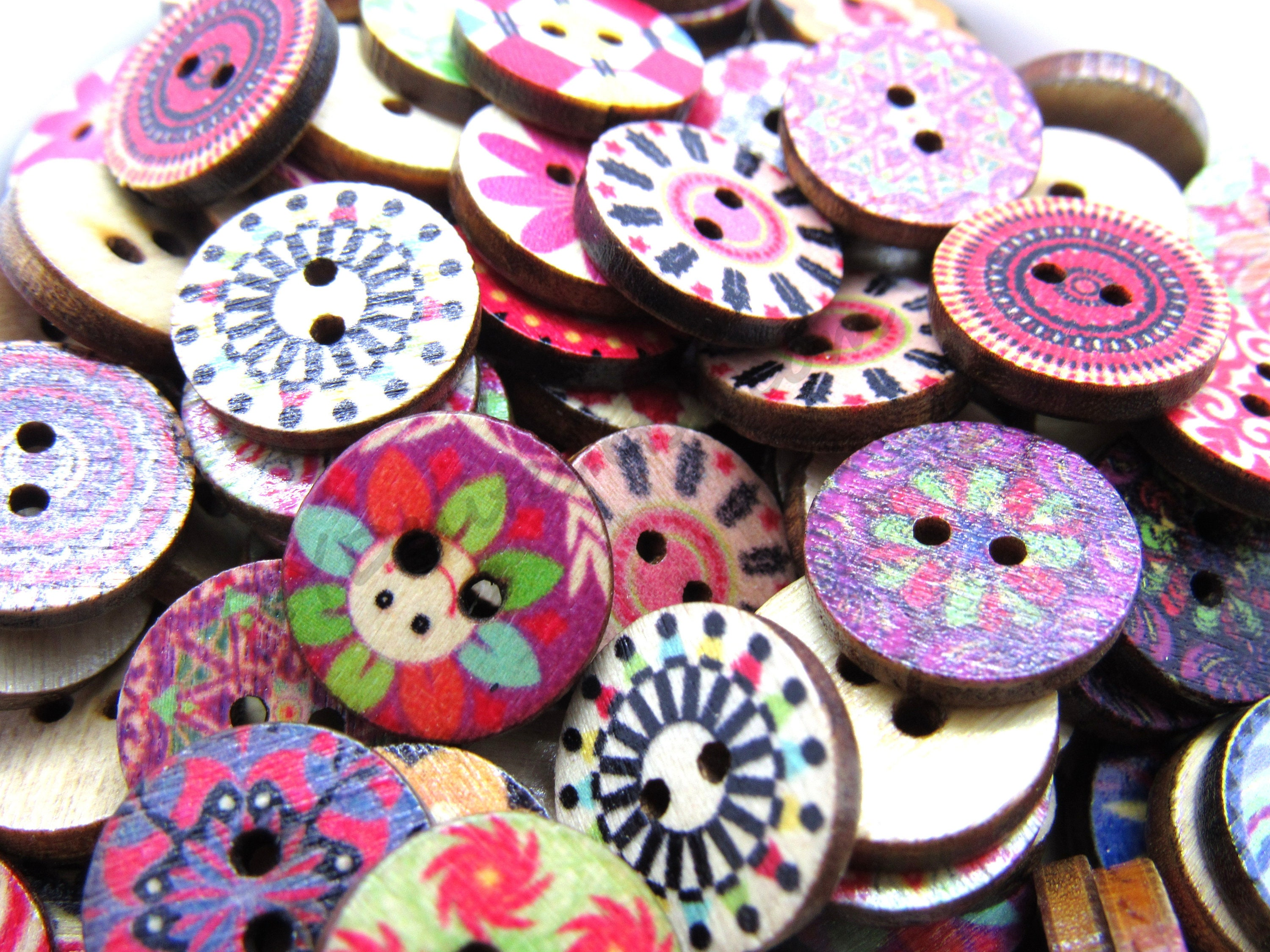 100 Bulk 2 Hole Flower Wooden Button Mixed for Sewing Scrapbooking DIY Craft