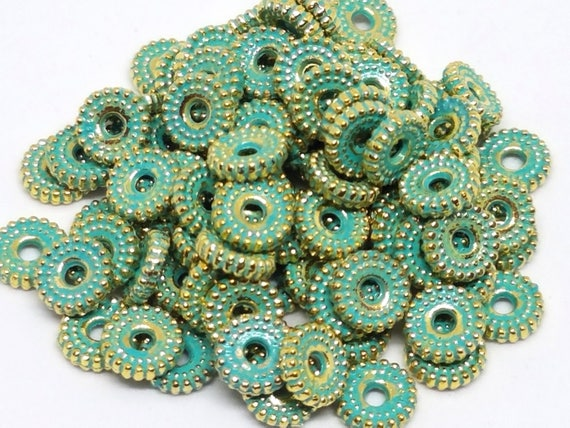Jewelry 25 Pcs VTG Turquoise /& Gold Disc Saucer Antiqued Metal Beads Crafts
