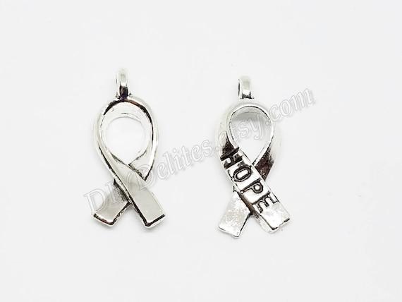 50pcs Hope Ribbon Charms silver tone Ribbon pendants//charms 19x8mm