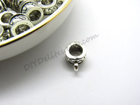 18K Yellow Gold White with Blue Enamel Bell Charm 8mm X 11mm//16mm with Bail