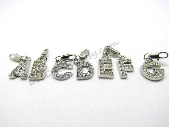 10 Silver Tone Alloy Rhinestone Alphabet Letter Z Charms Pendants