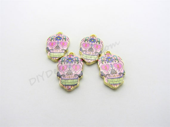 10pc Skull Mixed DIY Pendant For Enamel 10X Sugar Color 20*11mm Charm Jewelry