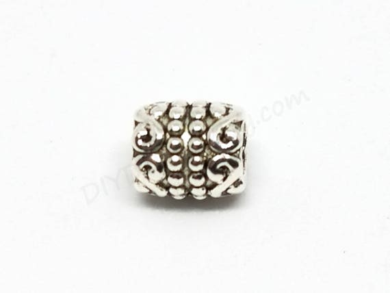 Bright Gold Star Textured 7mm Tube Large 5mm Hole European Charm Bead 1pc