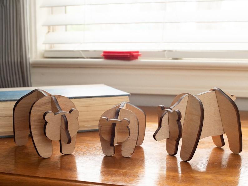 Wooden Bear Family: Modern Nursery Decor Pet Decor image 0