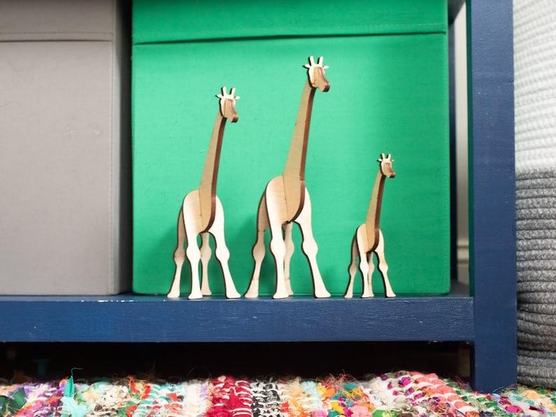 Wooden Giraffe Family: Modern Nursery Decor Pet Decor image 0