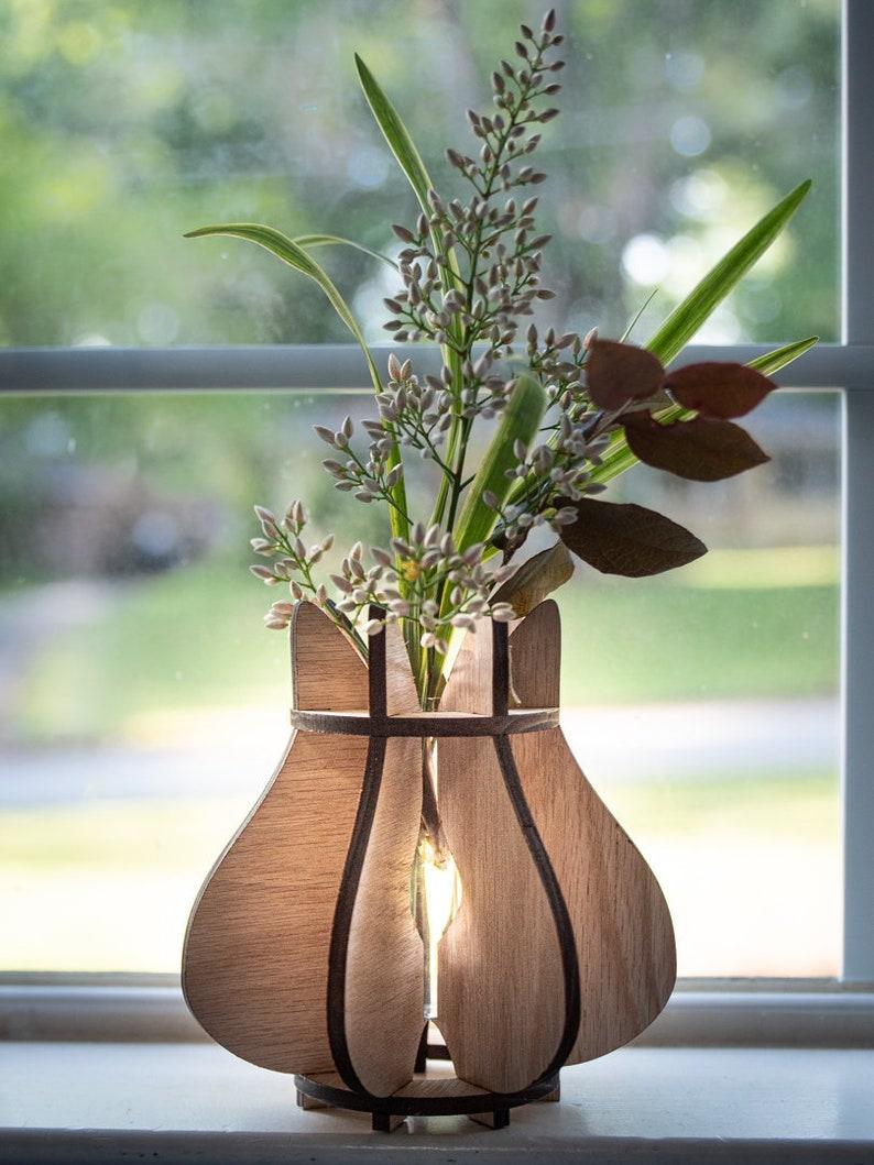 Modern Wooden Vase Sculptural Slat Vase Minimalist image 0