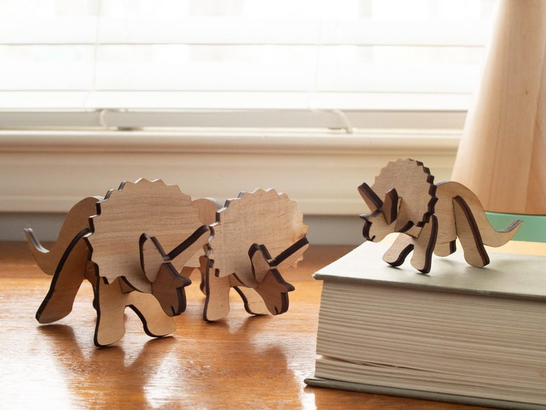 Wooden Triceratops Family: Modern Nursery Decor Dinosaur image 0