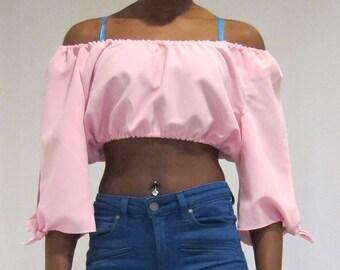 Pink crop top/cold shoulder crop top, pink crop top, off shoulders crop top