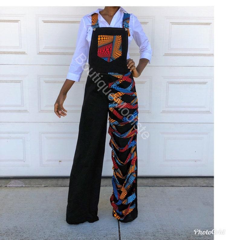 1970s Inspired jumperBell Bottom denim jumpsuitfunky Style JumpsuitWide leg bell bottom JumpsuitAfrican Clothing For Women