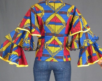 African print blouse/Ankara blouse/ African women's clothing/ flare sleeves blouse/bell sleeves African top/