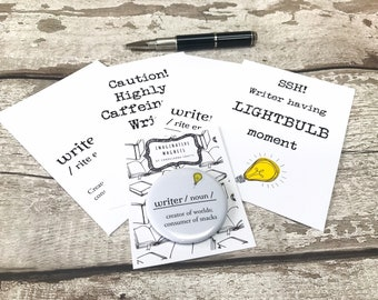 Writing Gift, Pack of Four Postcards and Magnet, Gift for Writer, Writing Stationery,