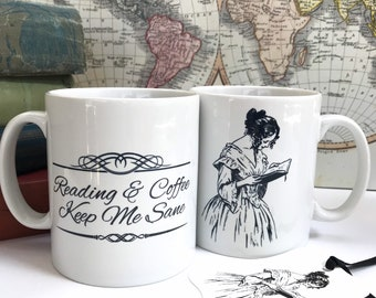Mug for Book Lover, double sided 'Reading and Coffee Keep Me Sane' and illustration of reading lady. Gift for Readers, Literary Gift.