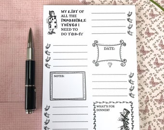 Alice in Wonderland Notepad, Alice Stationery, Wonderland Planner, A5 Alice in Wonderland Jotter