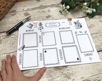Alice in Wonderland Planner, Alice Weekly A4 Planner, Alice in Wonderland Notepad