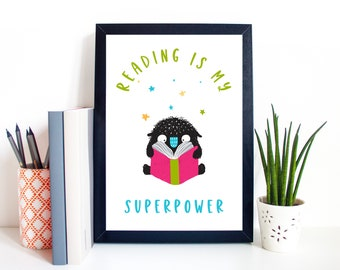 Reading Poster for Kids, Reading is My Superpower, Fun Book Print for Kids, Kids Bedroom Print, Unframed Book Print