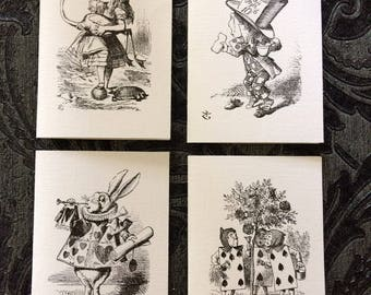 Alice in Wonderland Cards. Set of Four, With Kraft Envelopes. A7 Notecard Size. Blank Inside For Your Own Message.