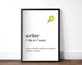 Writer Dictionary Print, Unframed A4 or A5, Book Lover Print, Unframed Bookish Print, Available With or Without Lightbulb or Balloon