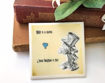 Alice in Wonderland Coaster, Handmade With Heat Resistant Resin. Wonderland Gift. Mad Hatter Decor. Alice Party.