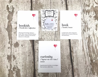 Bookish Gift, Pack of Three Postcards and Magnet, Gift for Reader, Bookworm Stationery, Bookish Decor
