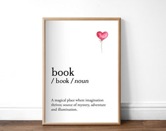 Book Dictionary Print, Unframed A4 or A5, Book Lover Print, Unframed Bookish Print, Literary Print