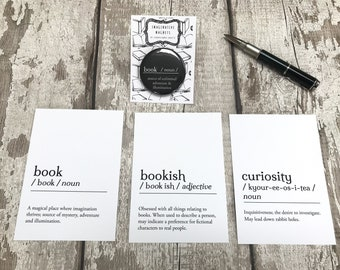 Book Prints, Pack of Three Postcards and Magnet, Gift for Reader, Bookworm Stationery, Bookish Decor